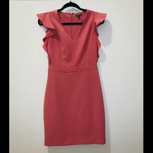Express Fitted Peach Ruffle Sheath Dress